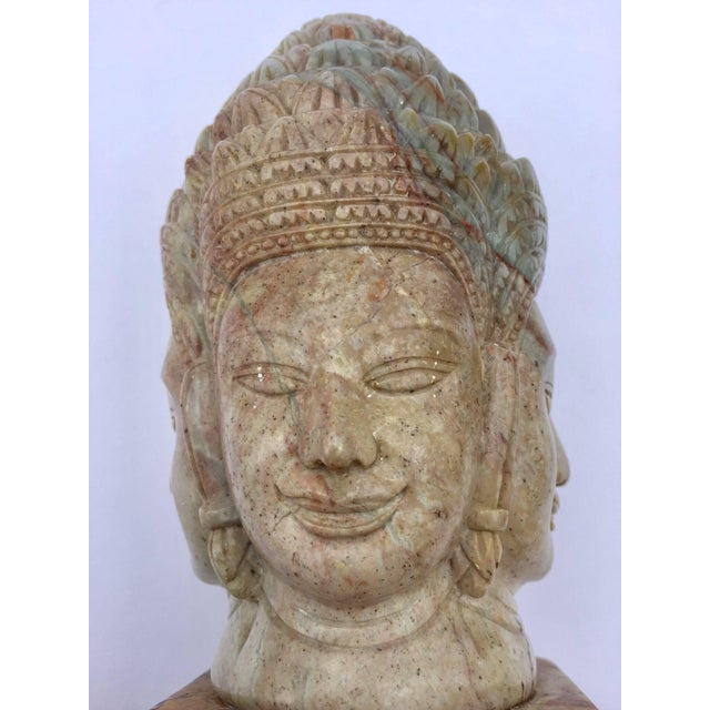 Mid 20th Century Soapstone Hand-Carved Bust of Brahma With Four Faces For Sale - Image 5 of 13