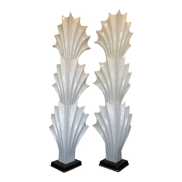 1970s Hollywood Regency Rougier Floor Lamps - a Pair For Sale