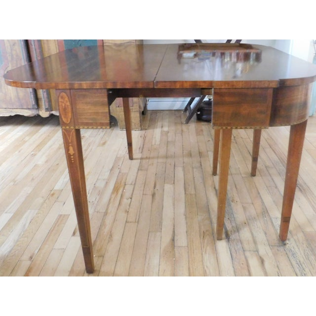 Wood Antique Demi-Lune Mahogany Marquetry Extension Dining Table For Sale - Image 7 of 11