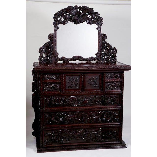 Asian Antique Japanese Carved Chest & Mirror For Sale - Image 3 of 9
