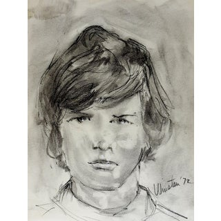1972 Boys Portrait Drawing by Winston For Sale