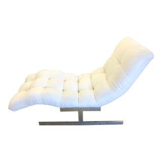 Milo Baughman Style Flat Bar Wave Chaise Lounge For Sale
