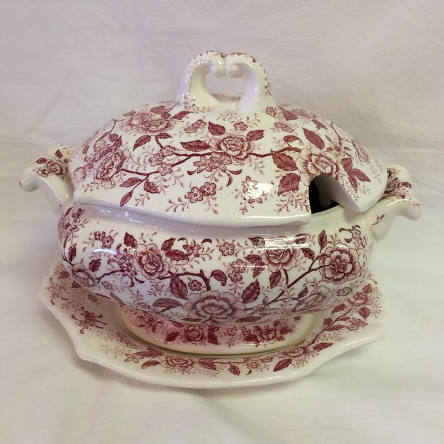 Antique English Rose Transferware Tureen With Underplate - 3 Piece Set For Sale - Image 12 of 12