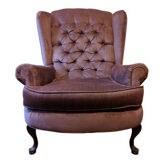 Vintage Tufted Mauve Wingback Chair