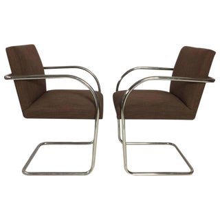 Mies Van Der Rohe Tubular Chrome Brno Chairs by Knoll - A Pair For Sale
