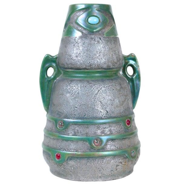 Jeweled Austrian Art Nouveau Vase - Image 1 of 3