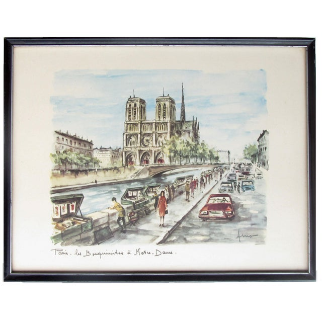 Classic mid-century souvenir art print / offset lithograph of Notre Dame Cathedral and the quai-side antique book sellers...