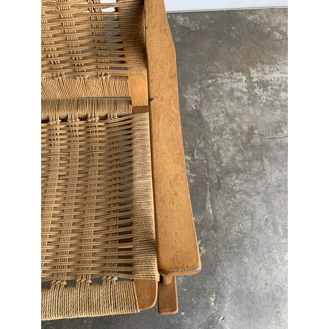 Brown Mid Century Rope Rocking Chair For Sale - Image 8 of 13