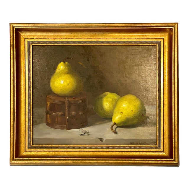 Contemporary Still Life With Pears Oil Painting by Beth DeLoiselle, Framed For Sale