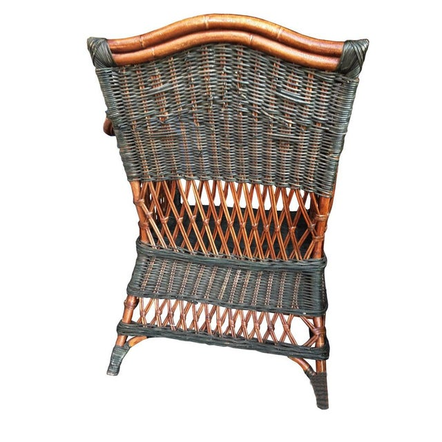 "Art Deco Art Deco Wicker & Rattan Armchair and Ottoman President's Style Deco Green and Natural Wicker Armchair and Footstool French ""Grange"" Rattan Armchair For Sale - Image 3 of 10"