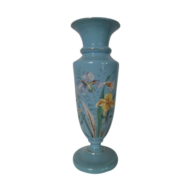 Large Robins Egg Blue Bristol Glass Vase - Image 1 of 7