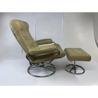 Vintage Mid Century Modern Leather Stressless Chair & Foot Stool by Kenyon Preview