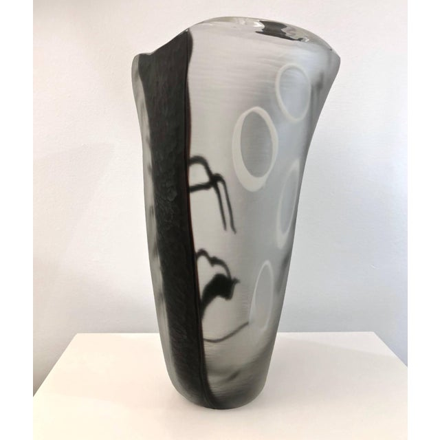 Contemporary Modern Black White and Crystal Clear Murano Glass Sculptural Vase For Sale - Image 10 of 13