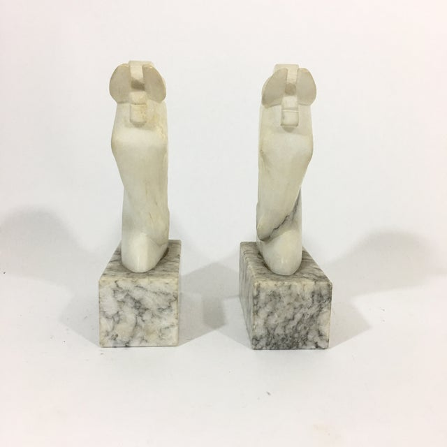 Art Deco Marble Trojan Horse Head Bookends For Sale - Image 3 of 9