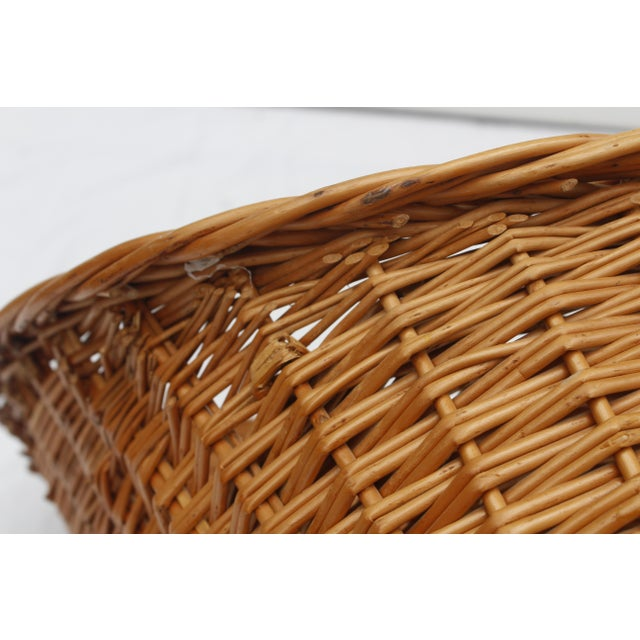 1970s 1970s Vintage Woven Rattan Wicker Settee For Sale - Image 5 of 8