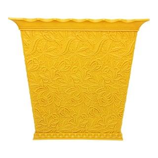 Mid Century Max Klein Yellow Floral Plastic Waste Basket