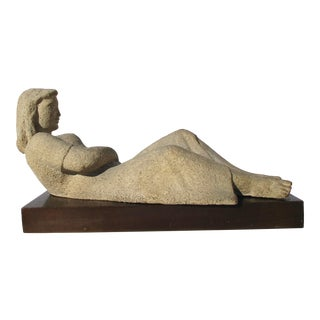 Mid-Century Concrete Sculpture of Reclining Woman by Berta Margoulies For Sale