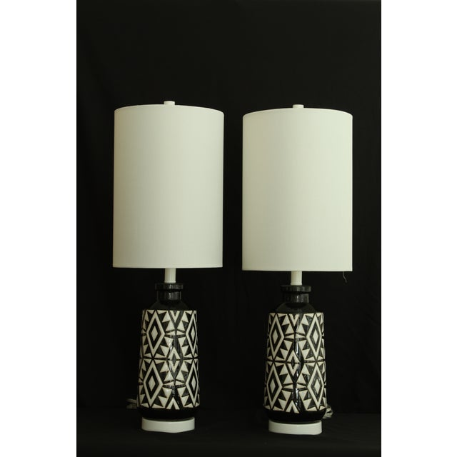 Geometric Ceramic Table Lamps - A Pair For Sale - Image 4 of 7