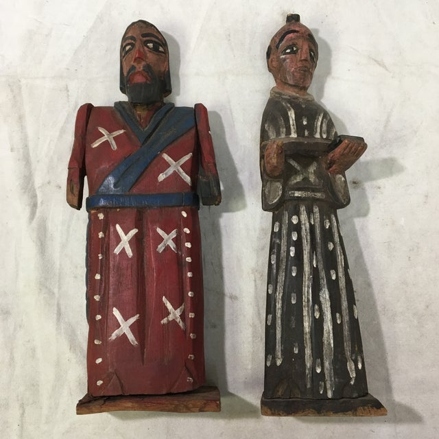Vintage St. Peter & St. Paul Wood-Carved Hand-Painted Christian Icon Santos Figures - a Pair For Sale - Image 12 of 12
