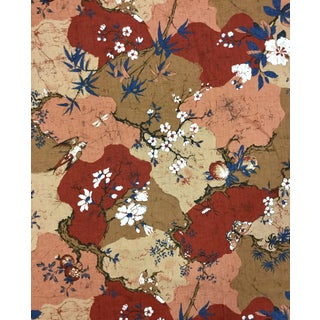 1970s Japanese Printed Sateen Upholstery Fabric For Sale