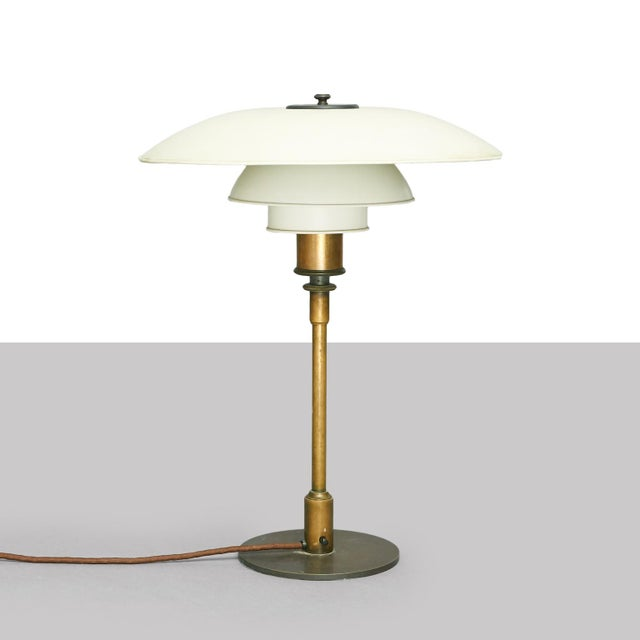 """Poul Henningsen PH4/3 Table Lamp, Stampled """"Pat. Appl"""" PH4/3, table lamp with brass stand, contact box as well as top disc..."""