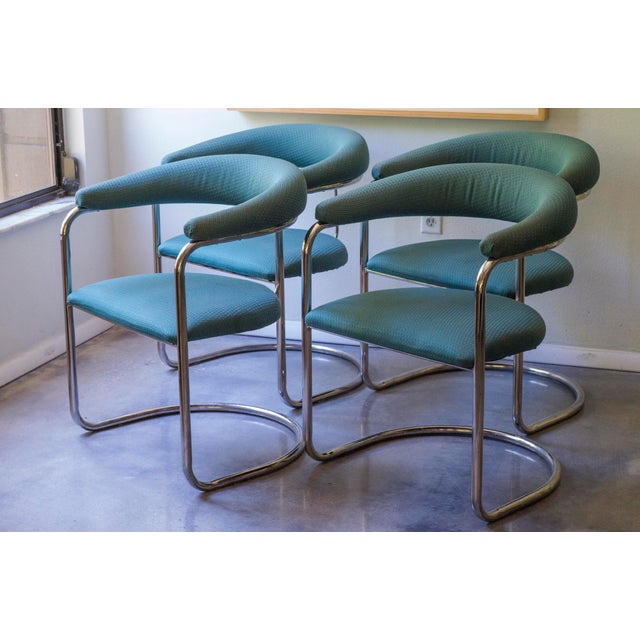 Thonet Tubular Chrome Teal Dining Chairs- Set of 4 - Image 4 of 9