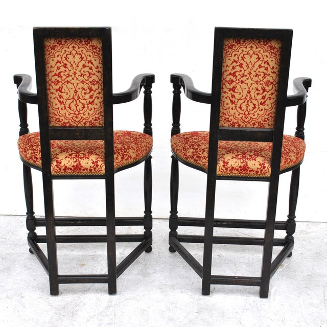 French Pair of Louis XIII Style Ebonized Stools by Dennis and Leen For Sale - Image 3 of 11