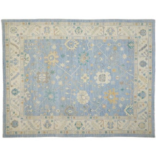 Contemporary Oushak Design Transitional Area Rug - 11′10″ × 15′2″ For Sale