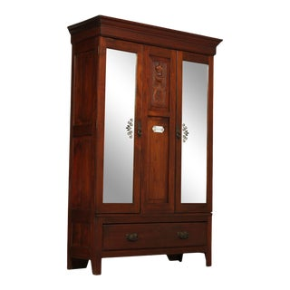 Antique Late 19th Century English Mahogany Mirror Doors Wardrobe Armoire For Sale
