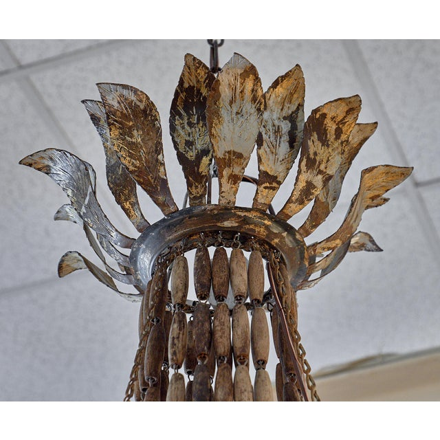 Italian Vintage Italian Wooden Chandelier For Sale - Image 3 of 10