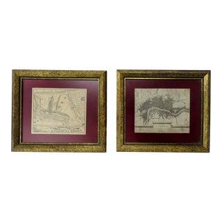 Framed London Maps, Set of 2 For Sale