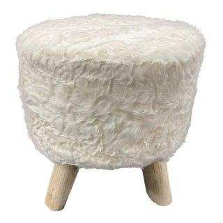 Sheepskin Covered Wood Stool by Tasha Tarno For Sale