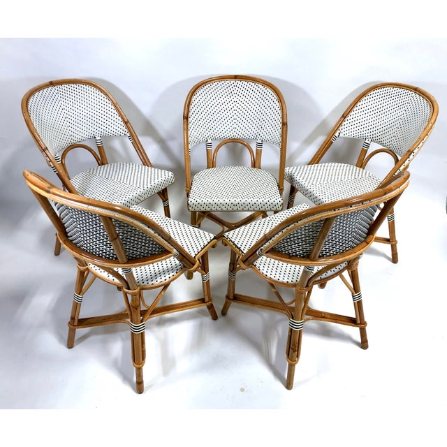 Camel Maillot French Bistro Woven Bamboo Rattan Chairs—Set of 5 For Sale - Image 8 of 13