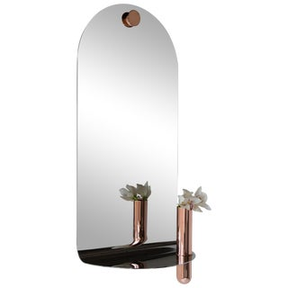 Birnam Wood Studio Polished Stainless Steel Mirror With Brushed Brass Vase For Sale