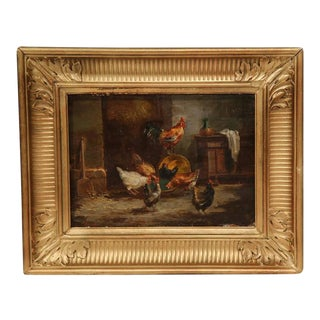 19th Century French Oil on Panel Chicken Paintings in Gilt Frame - a Pair For Sale