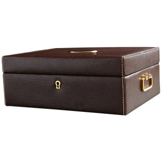 Mark Cross Leather Brown Leather Jewelry Box From the Collection of Ann Turkel For Sale
