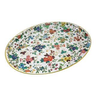 Vintage Chintz Floral Metal Tray by Daher For Sale