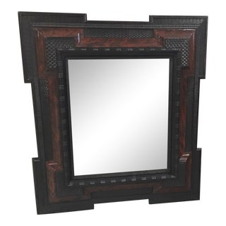 Dutch Style Faux Tortoise Shell & Ebonized Beveled Wall Mirror