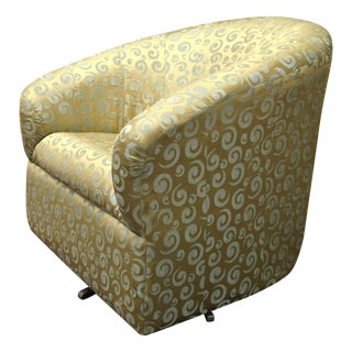 Gold Satin Swivel Rocking Chair For Sale
