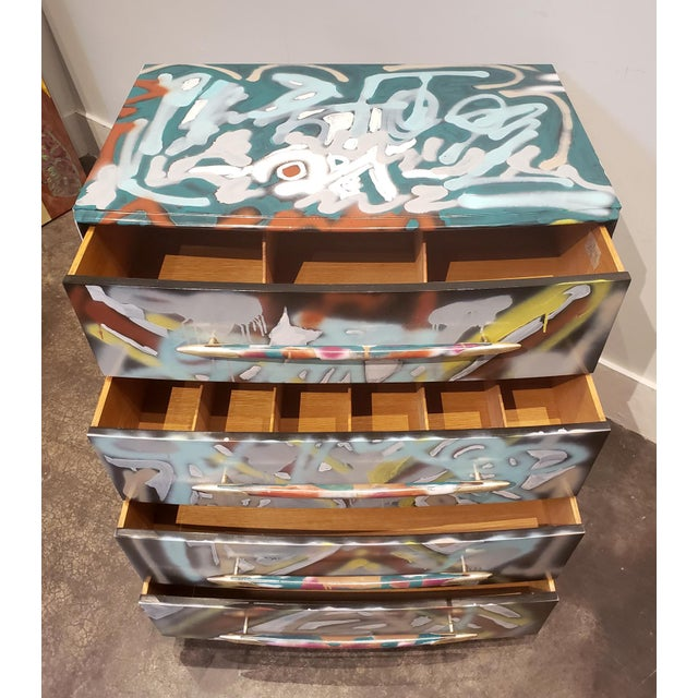 2020s Graffitied Artist Painted Chest of Drawers For Sale - Image 5 of 10