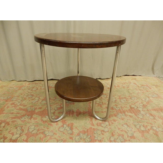 Metal 1940's French Two Tier Wood and Chrome Round Table For Sale - Image 7 of 7