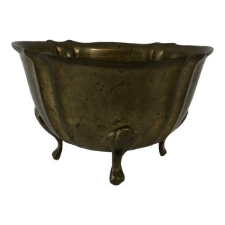Mid-Century Modern Brass Footed Cachepot For Sale