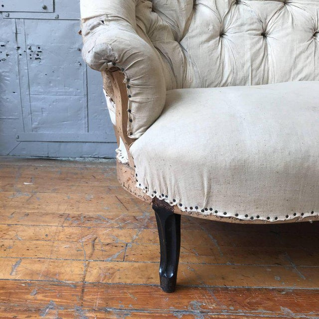 Small French Napoleon III Settee With Tufted Back and Cabriole Legs - Image 8 of 11