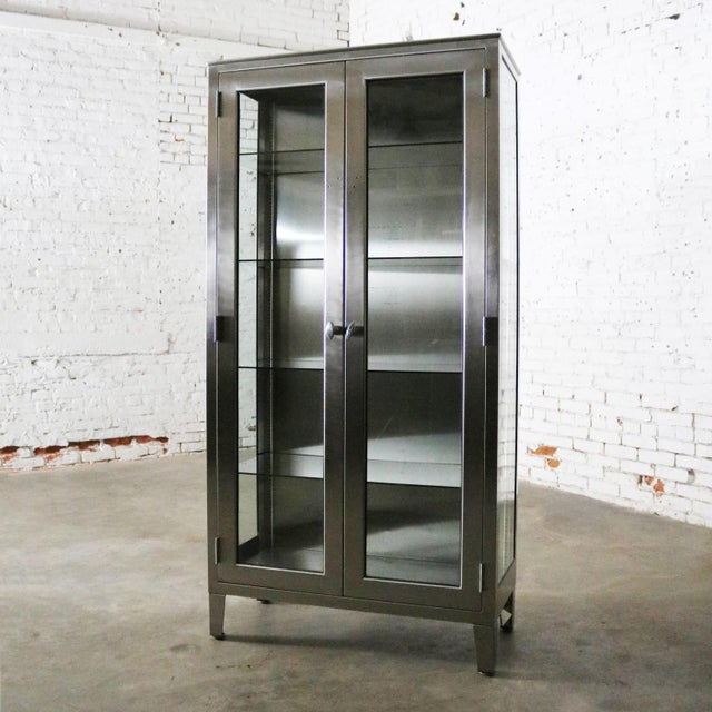 Vintage Stainless Steel Industrial Display Apothecary Medical Cabinet With Glass Doors and Shelves For Sale - Image 13 of 13