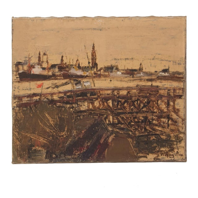 1900 - 1909 Oil Painting of Antwerp Circa 1900 For Sale - Image 5 of 5