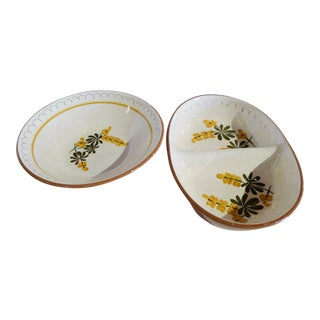 Vintage Stangl Pottery Set of 2 Serving Bowls One Round and One Oval For Sale