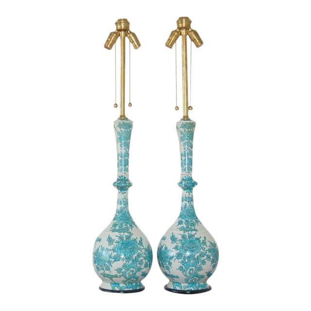 Marbro Italian Porcelain Table Lamps Aqua For Sale - Image 9 of 9