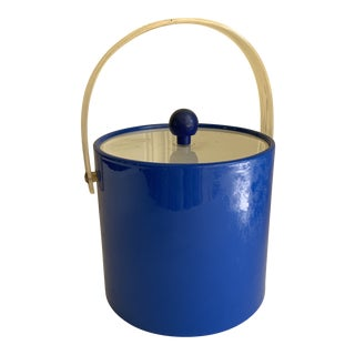 Bright Blue Vintage Vinyl Ice Bucket For Sale