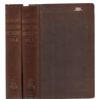 "1842 ""The Life of Lorenzo De' Medici Vols. I, Ii"" Collectible Book For Sale"