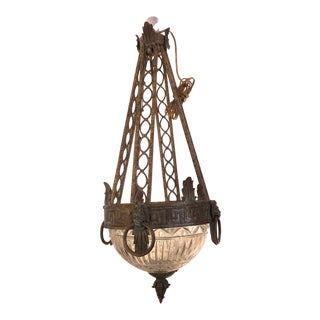 Neoclassical Greek Key and Lion Brass and Cut Glass Chandelier For Sale